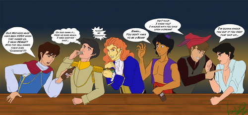 Disney Prince karatasi la kupamba ukuta entitled Disney Princes at the Bar