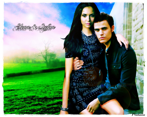 Vampire Diaries Hintergrund called Elena & Stefan