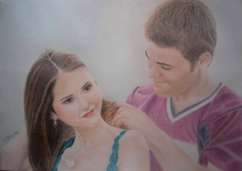 The Vampire Diaries پیپر وال possibly containing a portrait called Elena and Stefan Drawing