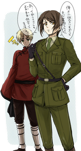 Hetalia پیپر وال containing a green beret کے, باریٹ titled England & Hong Kong: clothes swap