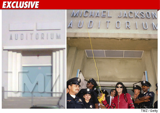 HELP US UNCOVER MICHAEL JACKSON'S NAME ON THE GARDNER calle SCHOOL AUDITORIUM SIGN