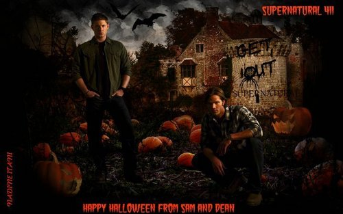 Supernatural wallpaper probably containing a street and anime called Happy Halloween from Sam and Dean :)