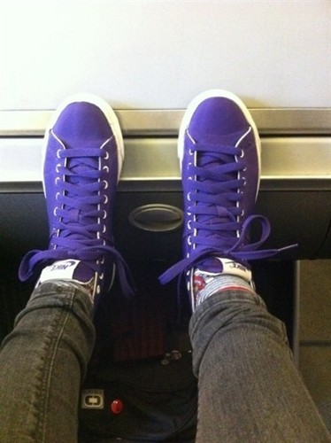 Hayley's purple Nike's.
