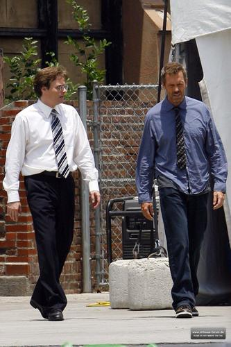 Hugh Laurie on Set of House