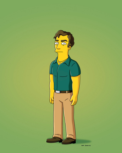 Hugh's character Roger in the TV series The Simpsons
