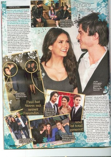 Ian Somerhalder e Nina Dobrev wallpaper probably containing a newspaper, a sign, and Anime titled IanNina Scan