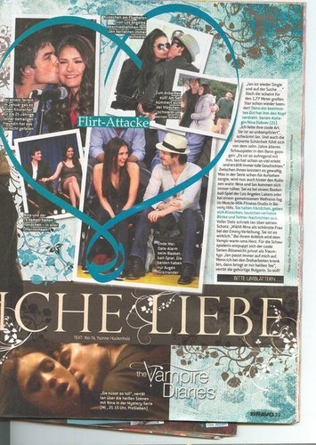 Ian Somerhalder e Nina Dobrev wallpaper probably with a newspaper and Anime called IanNina Scan