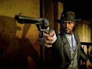 John Marston pointing gun at ???