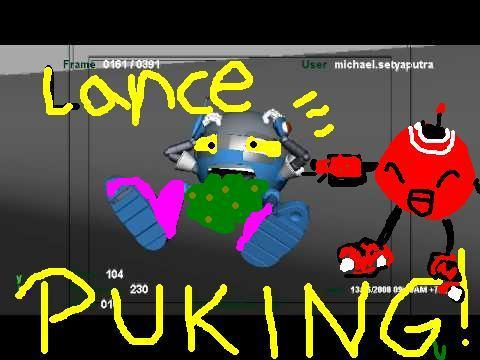 LANCE PUKING!!!