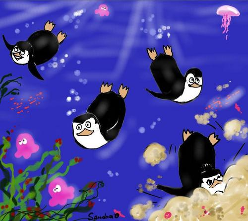 Penguins in the water