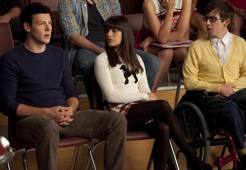 Sam, Quinn,Finn, Rachel, and Artie