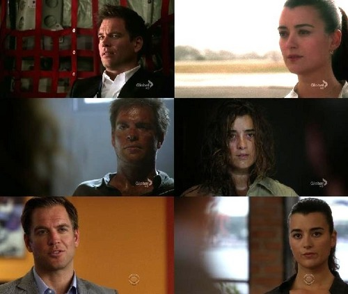 Tiva achtergrond probably containing a diner, a business suit, and a sign titled Tony/Ziva in Three Episodes
