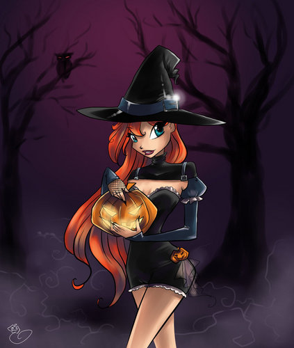 the winx club wallpaper containing a fedora entitled happy halloween bloom