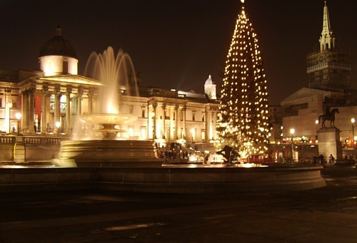 Рождество Lights Iondon UK (trafalgar square)