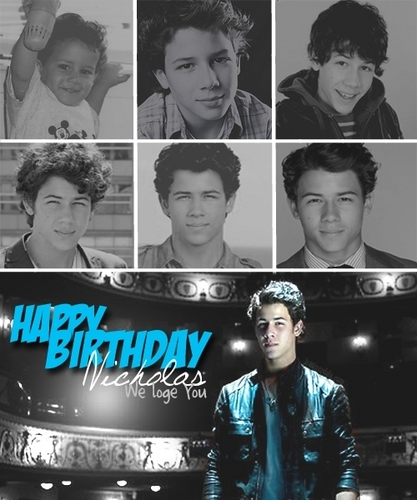 Nick Jonas Hintergrund probably containing a sign called Happy Birthday, Nick.