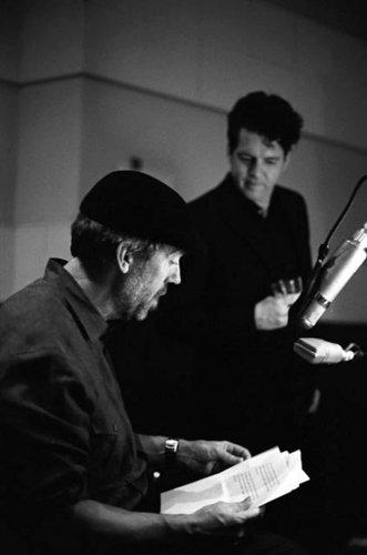 Hugh recording his blues album