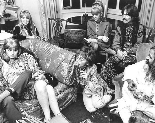 Jane with the Maharishi and some other Beatle people