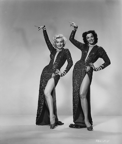 Marilyn Monroe karatasi la kupamba ukuta with a leotard, tights, and a swimsuit called Marilyn and Jane Russell
