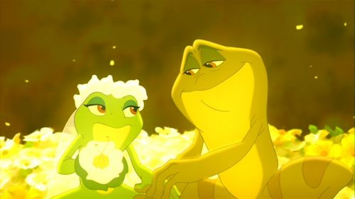 Disney Magical Moments wallpaper with a buttercup, a marigold, and a winter jasmine entitled Princess and the frog