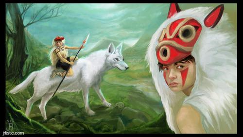 Princess Mononoke wallpaper possibly containing a lippizan and a lamb called Priness Mononoke