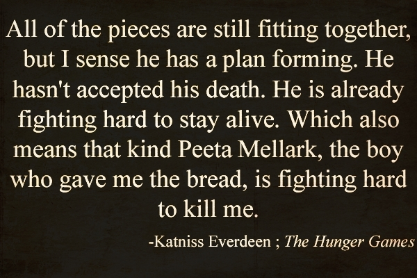 the hunger games essay quotes In my english class i'm writing an essay on conserving the environment and we need to add quotes from other sources so i thought of the quote from the hunger.