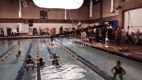 Swim practice (on set pics)