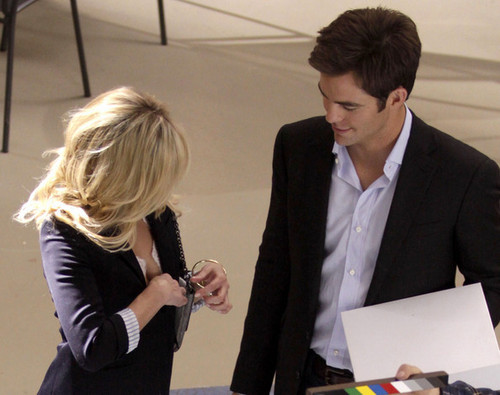 Chris on The Set Of 'This Means War'