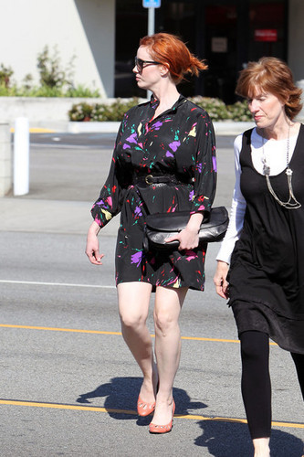 Christina Hendricks Leaving Paco's Mexican Restaurant