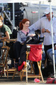 Christina Hendricks on Set of