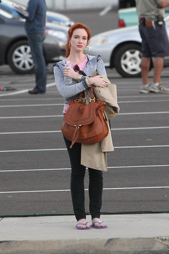 "Christina Hendricks on Set of ""Drive"""
