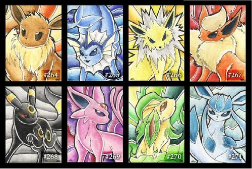 Eevee hình nền containing a stained glass window and anime titled Eeveelution Card Art