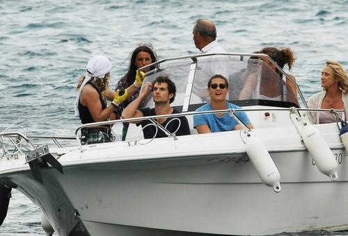 Henry Cavill Films on a Boat