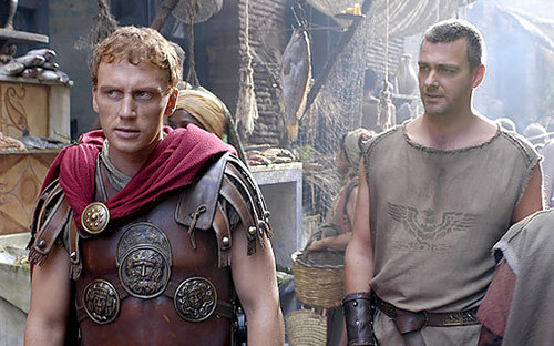 Rome wallpaper with a breastplate called Kevin McKidd as Lucius Vorenus & Ray Stevenson as Titus Pullo