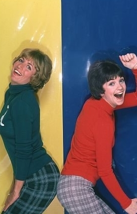 Laverne & Shirley wallpaper possibly with tights, a playsuit, and a sign titled Laverne and Shirley