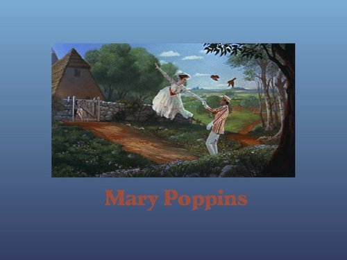 Mary Poppins Hintergrund possibly containing a sign, a sod house, and a wind turbine entitled Mary Poppins
