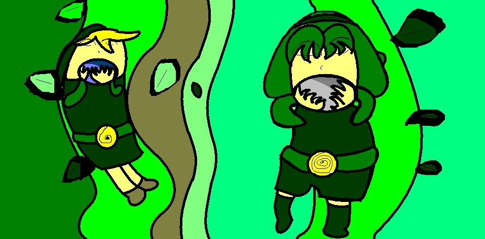 My Drawing About King toon Link and Oreen Toon Saria!