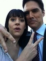 Paget and Thomas on set Season 6 - emily-prentiss photo