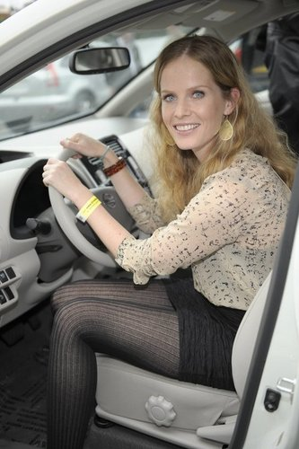 Rebecca Mader car launch in Nissan's Leaf, electric car that will be released in December 2010.
