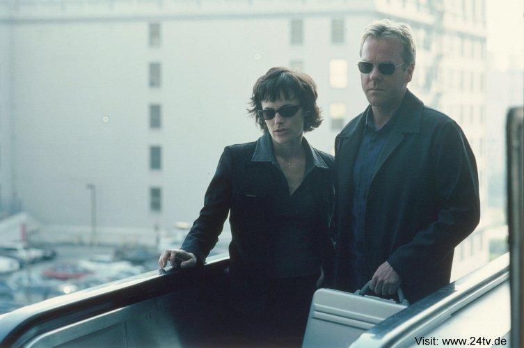 Sarah Clarke & Kiefer as Nina Myers & Jack Bauer