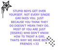 Stupid Boys - advice photo