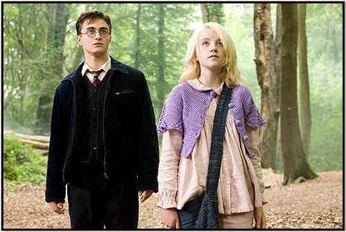 Harry Potter फिल्में वॉलपेपर possibly containing a cardigan, a pullover, and a well dressed person titled harry and luna in 5th साल