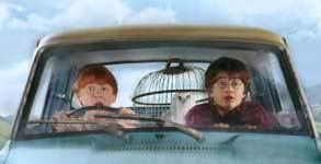 harry and ron in the car