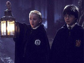 malfoy and harry in forbidden forest first tahun