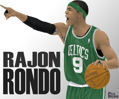 Rajon Rondo Hintergrund containing a basketball, a dribbler, and a basketball player entitled rondo