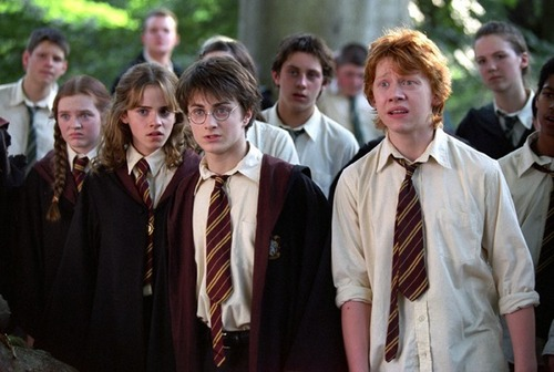 Harry Potter फिल्में वॉलपेपर probably with a business suit titled trio third साल