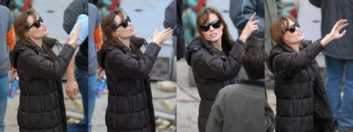 Angelina Jolie on set