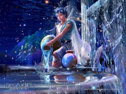 Fantasy wallpaper containing a fountain entitled Aquarius