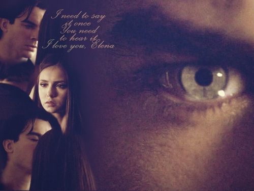 Damon & Elena 바탕화면 containing a portrait titled Damon/Elena ღ