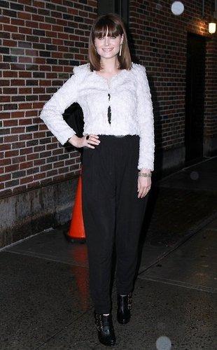 Emily Deschanel visiting David Letterman