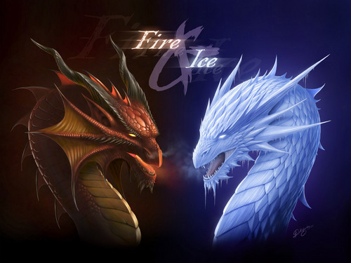 Fire and Ice Dragons - funkyrach01 Wallpaper